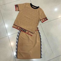 Fendi 2019 early spring new knit pullover hollow jacquard letter top + half skirt two-piece Khaki