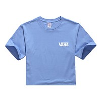 Vans Summer New Fashion Bust Letter Print Leisure Women Men Top T-Shirt Blue