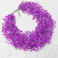 FREE SHIPPING Purple necklace Violet  amethyst necklace Air necklace necklace Every day Lavender floral necklace Bib necklace gift for her