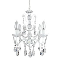 4 Light Shabby Chic Crystal Plug-In Chandelier (White)