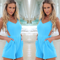 Blue Backless Romper with Pocket