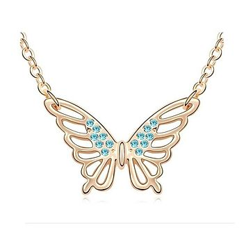 New Stylish Women Crystal Butterfly Fashion Necklace Engagement Wedding Party Gift Necklace Jewelry