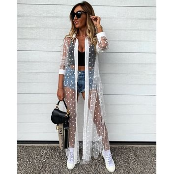 Woman's  Long Sleeve Mesh Perspective Cover Up