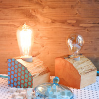 Set of two wood lamps with ombre polka dots on side, made out of reclaimed firewood, can be used as matching bedside lamps or as table lamps