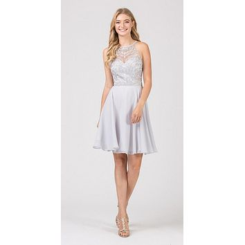 Halter Short Fit and Flare Homecoming Dress Silver