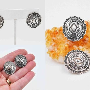 Vintage Navajo Sterling Silver Concho Pierced Earrings, Phillip Guerro, Signed PTG, Native American, Tooled, Oval, Scalloped #c563