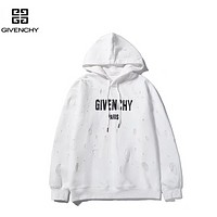 Givenchy New fashion letter print couple high quality hole hooded long sleeve sweater White
