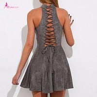 Summer  Dress Woman Party Bandage Lace up Off Shoulder Sexy Backless Casual Solid Pleated Mini Dress