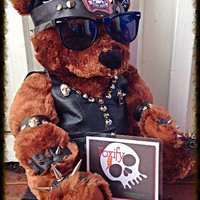 Biker Leather Teddy Bear - Genuine Leather Clad Motorcycle Premium Large Novelty Gift (One-of-a-kind)
