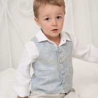 Ring bearer outfit Wedding party outfit Toddler boy vest and pants Boys baptism outfit Boys jacquard vest Corduroy pants Photo prop