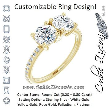 Cubic Zirconia Engagement Ring- The Minerva (Customizable Enhanced 2-stone Round Cut Design with Ultra-thin Accented Band)
