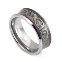 Black Tungsten ring Dragon Pattern for wedding