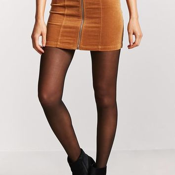 Faux Suede Zip-Front Skirt