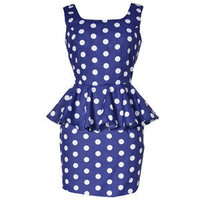 Style Icon's Closet 50s style Vintage Inspired Pin-Up African Print Retro Rockabilly Clothing — Peplum Polka Dot Mini Dress