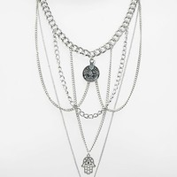 Women's Topshop Multi-Row Chain Link Hand of Fatima Charm Necklace
