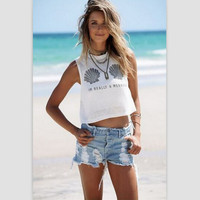 Sleeveless Summer Hot Sale Print Round-neck Sexy Women's Fashion T-shirts [6439092420]