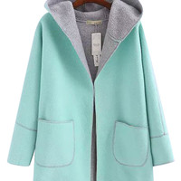 Hooded Contrast Lining Coat with Pocket