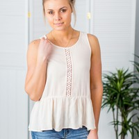 Simply Sweet Peplum Tank- Blush