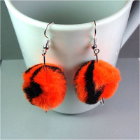 "Puff Ball Earrings 1 1/2"" Dangle Pom Poms Fiber Art Orange Black Tiger Striped Team Spirit Pride Soft Furry Women Ladies Girls Pierced 545"