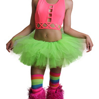 Pink (Neon) Cage Crop Top and Neon Lime Green Tutu Outfit