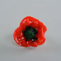 Beautiful Ring Poppy flower made of polymer clay handmade adornment for women