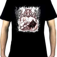 Satanic Baphomet Goat Devil Men's T-Shirt Occult Metal