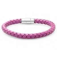 Oxford Ivy Lavender Braided Leather Bracelet - Stainless Steel Locking Magnetic Clasp (7 1/2 inch)