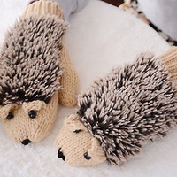 Hedgehog Porcupine knitted Winter Gloves MITTENS Ready to ship!