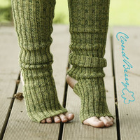 Yoga and dance socks - Green, very long, knitted comfortable warm colorful leg warmers