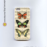Colorful butterflies on vintage music sheet iphone case 4/4S- iphone case 5/5S -Galaxy S4 case -Nature case-Design by Natura Picta-NP066