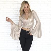 Shine In Champagne Wrap Around Blouse