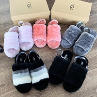 Bunchsun UGG popular women casual hair tugs fashion color matching velvet wool slippers sandals