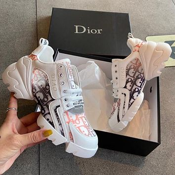 DIOR shoes new low-cut female letter printing couple shoes lace-up low-top shoes
