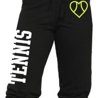 Juniors Tennis Capri Pants With Heart Icon (Large, Black)