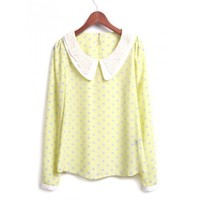 Korean Style Florral Lace Lapel Neck Long Sleeves Yellow  Dotted Fitting One Size Chiffon Top @MF9906