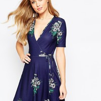 ASOS Tea Dress with Wrap Front in Floral Print at asos.com