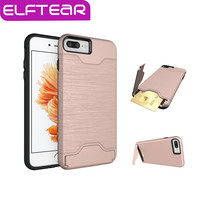 ELFTEAR Card Holder Case For iPhone 7 7 Plus For iPhone 6 6s Plus Slim Armor Slide Card Slot Shockproof Hard PC Phone Back Cover