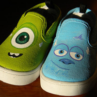 Painted Toddler Canvas Shoes - Monsters Inc. - Sulley - Mike Wazowski - James P. Sullivan - Disney Fan - Pixar - Movie