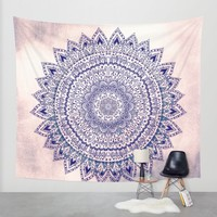 PASTEL PINK MANDALIKA DREAM Wall Tapestry by Nika