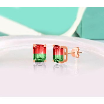 """Swarovski Crystals """"Cherry and Lime"""" - Emerald Cut Bi Color 2.00 CT Tourmaline Stud  Earring"""