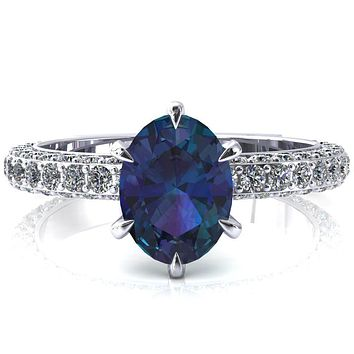 Vanessa Oval Alexandrite 6 Claw Prongs 3/4 Pavé Eternity Engagement Ring