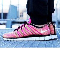 """""""NIKE"""" Trending Free Knit Fly Line Fashion casual sports shoes Pink"""