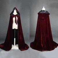 Unisex Mantle Hooded Cloak Coat Wicca Robe Medieval Cape Shawl Halloween Cosplay Party Witch Wizard Costumes Party Supplies