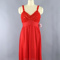 Vintage 1960s Red Ruffle Full Slip Nightgown