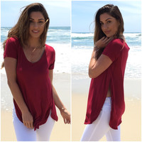 Split Sides Jersey Blouse In Burgundy