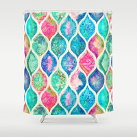 Watercolor Ogee Patchwork Pattern Shower Curtain by Micklyn