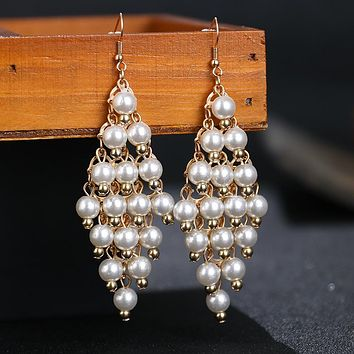 Exaggerated multilayer pearl jewelry metal earrings Stockings Shoes Dress Bikini bag