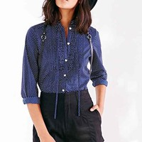Edith & Ella Heart Print Pintuck Blouse- Navy