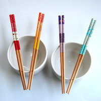 Set of Colorful Washi Tape Wrapped Bamboo Chopsticks - Purples, Blues, Oranges, Reds Patchwork