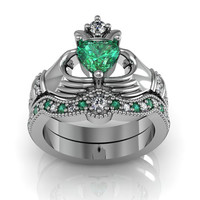 Sterling Silver Emerald Claddagh Love and Friendship Engagement Ring Set